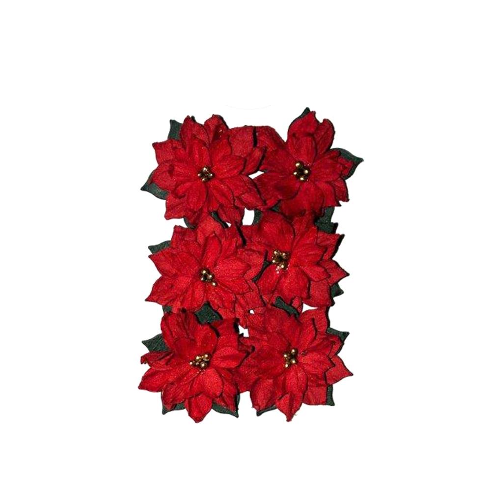 Poinsettia Paper Flowers 6 Pcs Sklep Internetowy Dpcraft