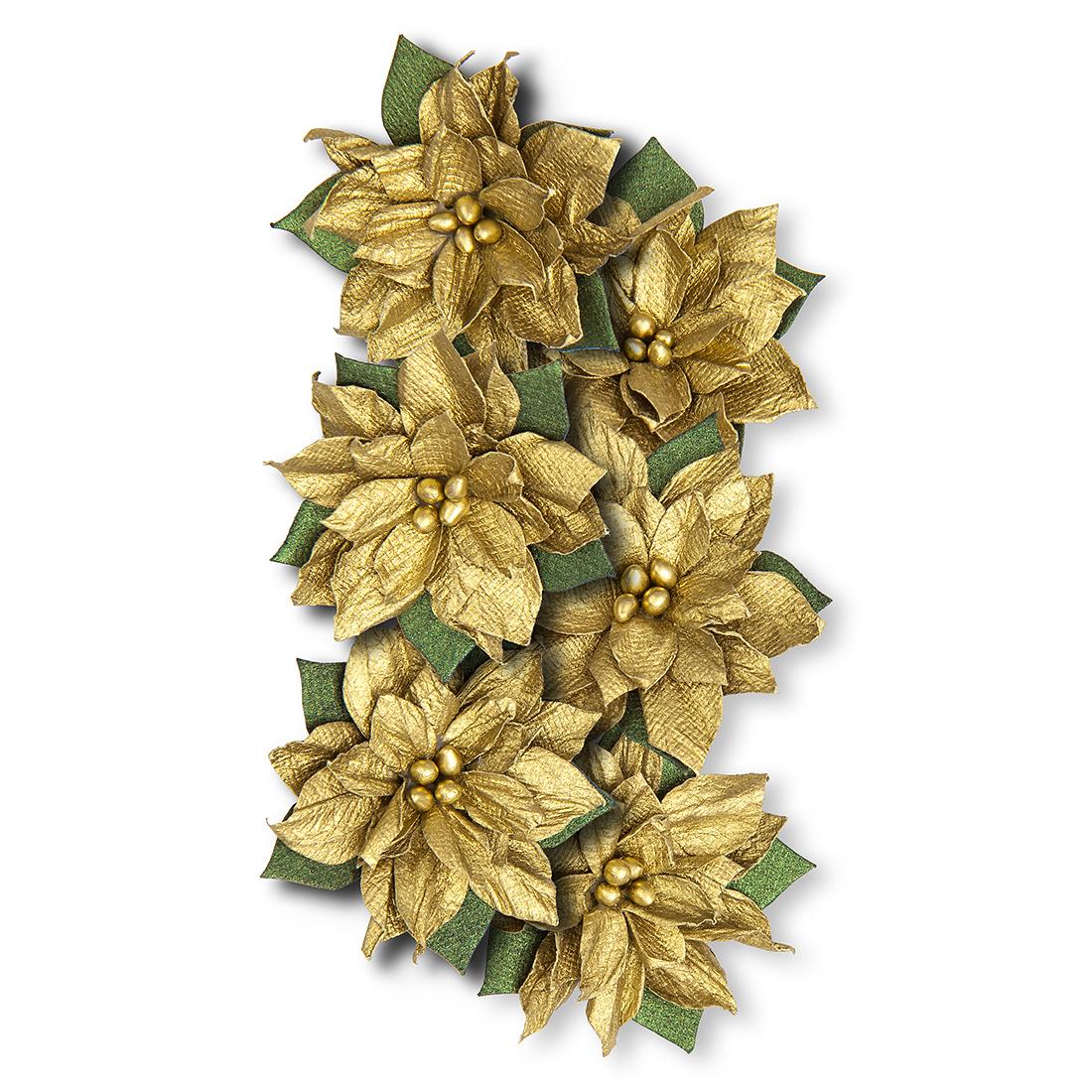 Poinsettia Paper Flowers 6 Pcs Gold Sklep Internetowy Dpcraft